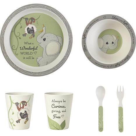 Precious Moments Precious Earth Elephant & Monkey Bamboo Mealtime Set