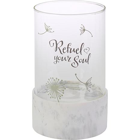 Precious Moments Refuel Your Soul Resin & Glass Hurricane Candleholder
