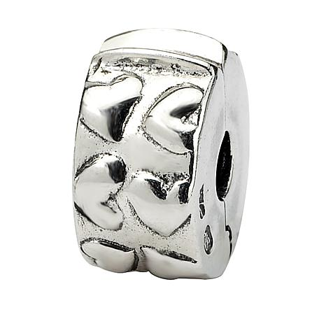 .925 Sterling Silver Hinged Hearts Clip Bead