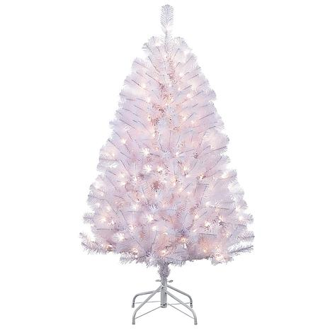 Puleo 4.5 ft. White Noble Fir Artificial Christmas Tree w/250 Lights