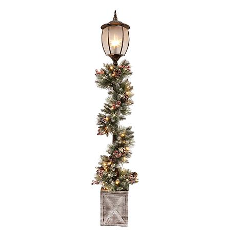 Puleo International 7' Lamp Post Decorated Garland with Lights