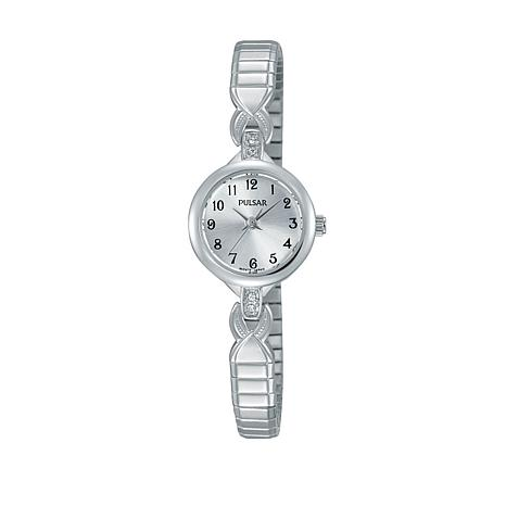 Pulsar Ladies Stainless Steel Crystal-Accented Expanding Watch