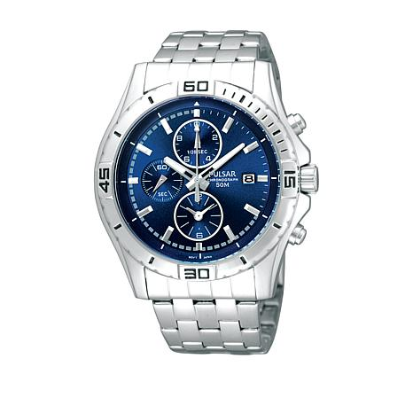 Pulsar Men's Blue Dial Chronograph Stainless Steel Bracelet Watch
