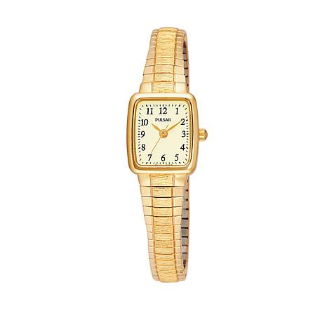 Pulsar Women's Goldtone Square Champagne Dial Expansion Band Watch