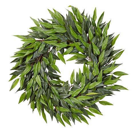 "Pure Garden 18"" Indoor Artificial Microphylla Leaf Wreath"