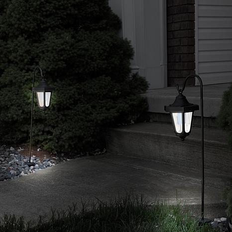 Pure Garden Solar Led Hanging Coach Lanterns Black