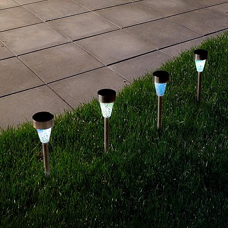Pure Garden Stainless Solar LED Mosaic Pillar Set of 4