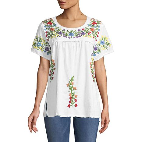 Raj Lily Floral Garden Embroidered Top