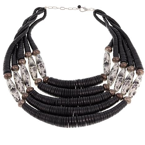 Rara Avis by Iris Apfel Black and White Bead 5-Row Necklace
