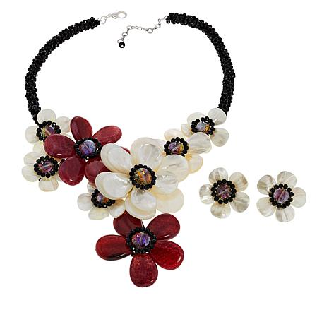 Rara Avis by Iris Apfel Mother-of-Pearl Floral Necklace and Earrings