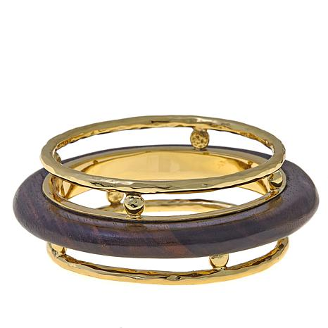 Rara Avis by Iris Apfel Wood 3-Row Bangle Bracelet