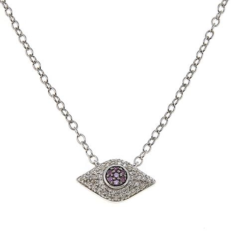 Rarities 0.25ctw Purple and White Diamond Evil Eye Drop Necklace