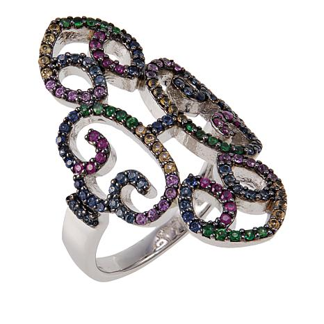 Rarities 0.9ctw Tsavorite and Multicolored Sapphire Open-Swirl Ring