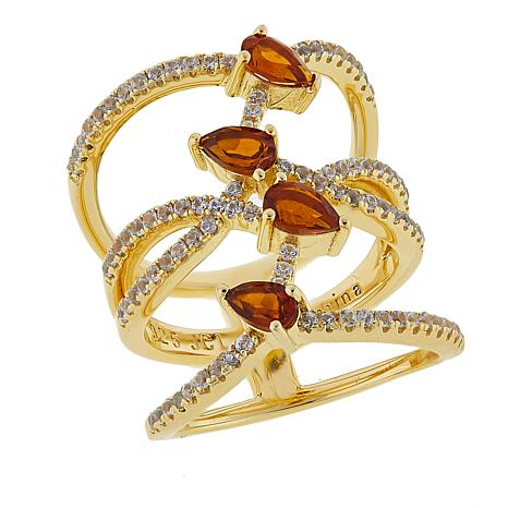 Rarities 1.29ctw Madeira Citrine & White Zircon Negative Space Ring