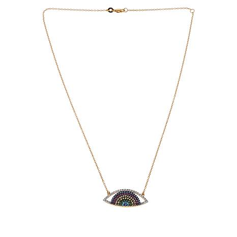 "Rarities 18"" Gold-Plated Multigem Evil Eye Necklace"