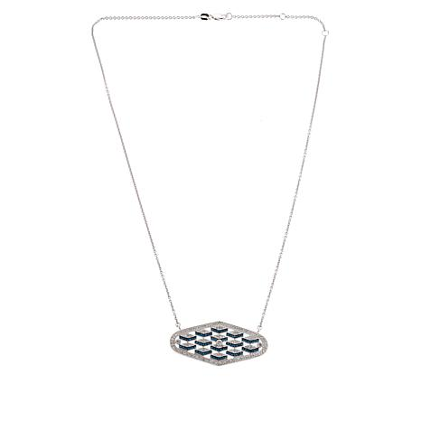 "Rarities 1ctw White & Blue Diamond Chevron 16"" Necklace"