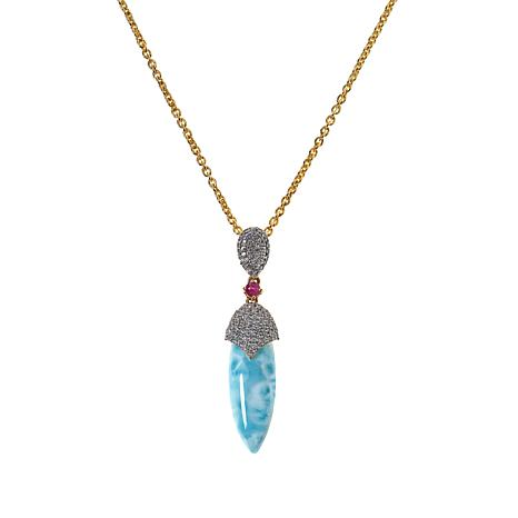 "Rarities 20"" Gold-Plated Larimar, Ruby and White Zircon Drop Necklace"