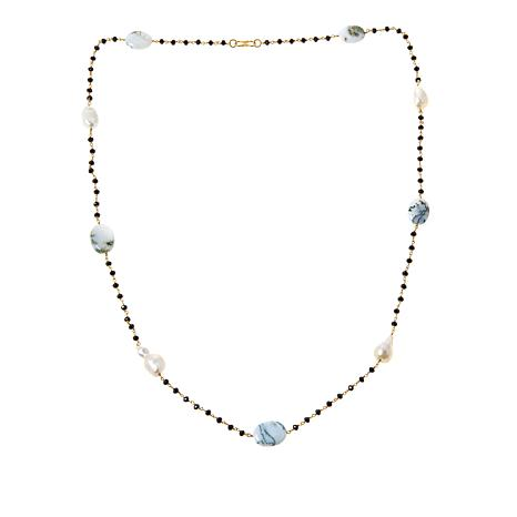 """Rarities 36-1/16"""" Goldtone Opal, Cultured Pearl and Gemstone Necklace"""