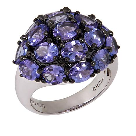 Rarities 5.01ctw Tanzanite Cluster Sterling Silver Ring