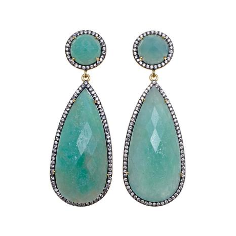 Rarities Amazonite and White Zircon Drop Earrings