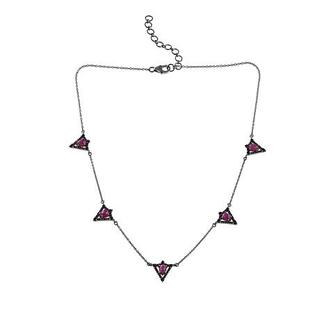"Rarities Black Spinel and Gem Triangle 18"" Necklace"