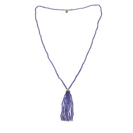 "Rarities Blue Tanzanite Rondelle 30"" Tassel Necklace"