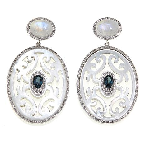 Rarities Carved Mother of Pearl and Gem Drop Earrings