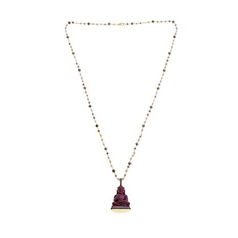 Rarities Carved Ruby Buddha Pendant with Chain