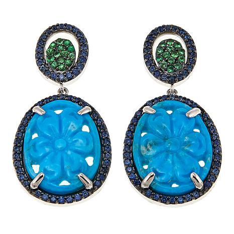 Rarities Carved Turquoise Flower and Gem Oval Drop Earrings