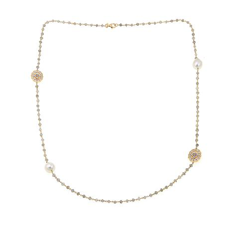 Rarities Cultured Baroque Pearl and Gemstone Station Necklace
