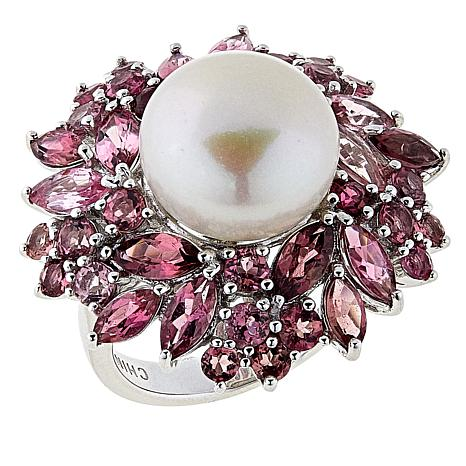 Rarities Cultured Freshwater Pearl and Pink Tourmaline Ring