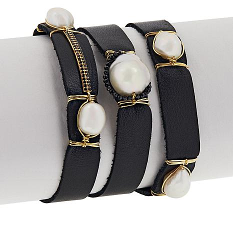 Rarities Cultured Pearl and Black Spinel Leather Wrap Bracelet