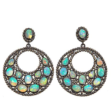 Rarities Ethiopian Opal & Diamond Circle Drop Earrings