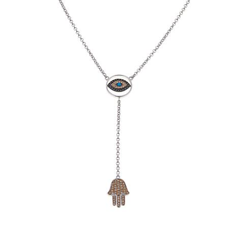 "Rarities Evil Eye and Hamsa Hand Y-Shaped 16"" Necklace"