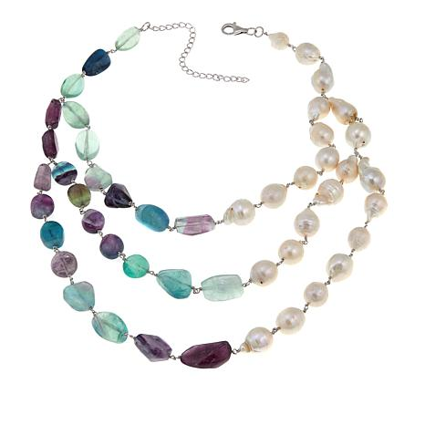 "Rarities Fluorite and Cultured Pearl 3-Strand 17-1/2"" Necklace"