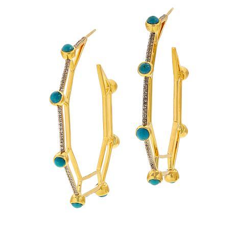 Rarities Gold-Plated Gem and White Zircon Hoop Earrings