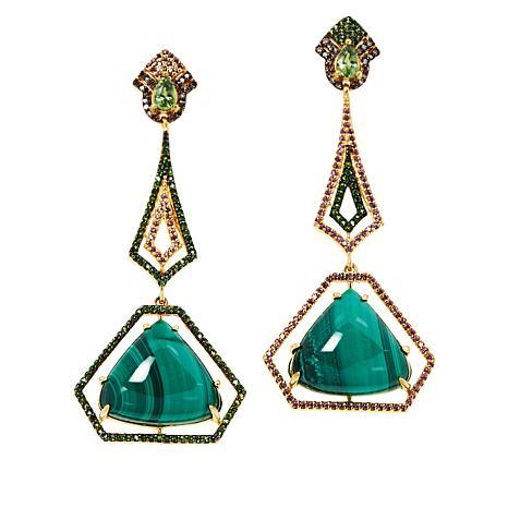 Rarities Gold-Plated Malachite Multigem Mismatched Dangle Earrings