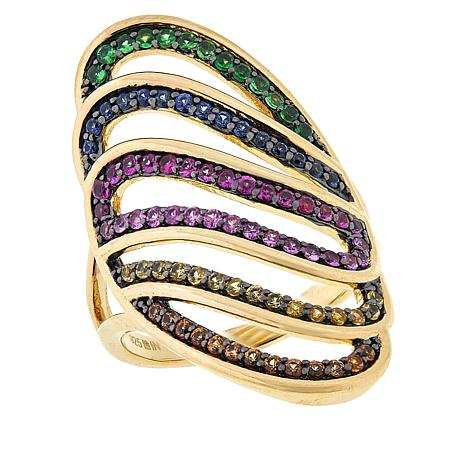 Rarities Gold-Plated Multicolor Sapphire and Tsavorite Wave Ring