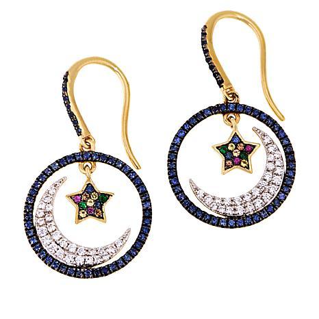 Rarities Gold-Plated Multigem Moon and Star Drop Earrings