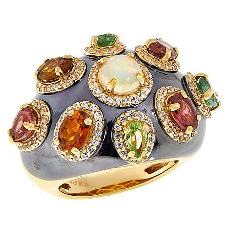 Rarities Gold-Plated Opal, Zircon and Tourmaline Domed Ring