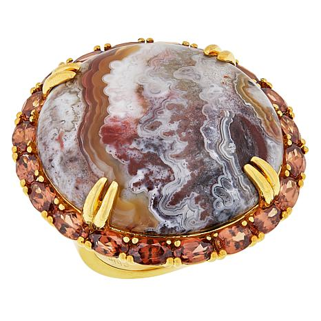 Rarities Gold-Plated Variegated Agate and Orange Zircon Round Ring