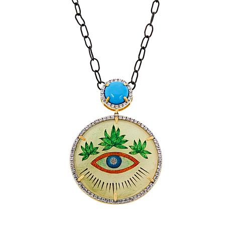 Rarities Hand-Painted Agate, Turquoise & Zircon Disc Pendant Necklace