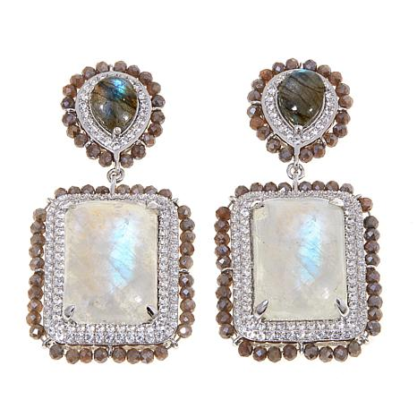 Rarities Moonstone, Labradorite, White Zircon  Earrings