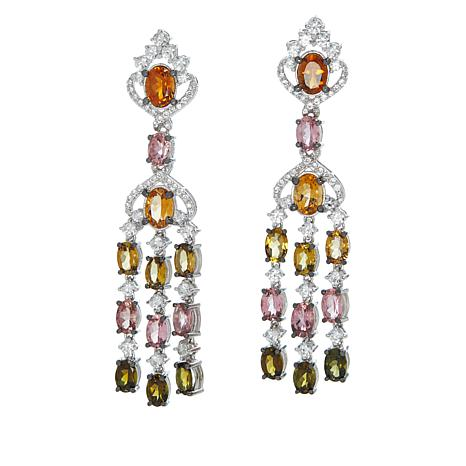 Rarities Multicolor Tourmaline and White Zircon Chandelier Earrings