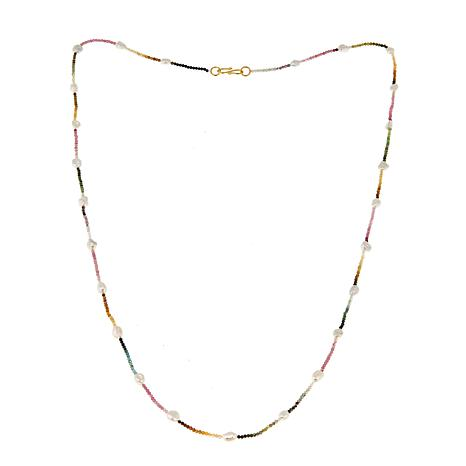 "Rarities Multicolored Tourmaline and Cultured Pearl 36"" Necklace"