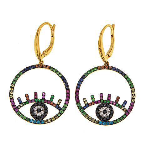 Rarities Multigem Evil Eye Talisman Drop Earrings