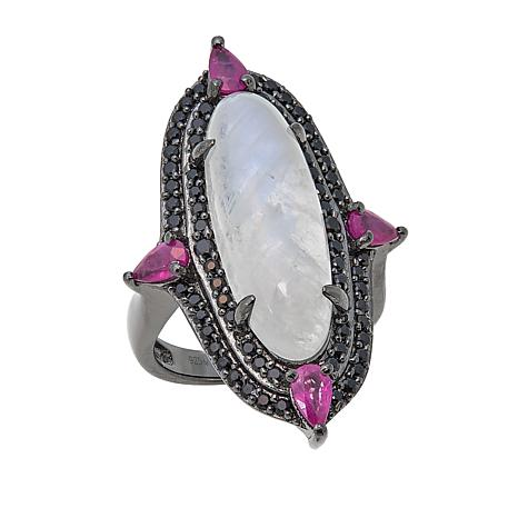 Rarities Oval Moonstone, Ruby and Black Spinel Sterling Silver Ring