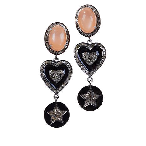 Rarities Peach Moonstone and Diamond Drop Earrings