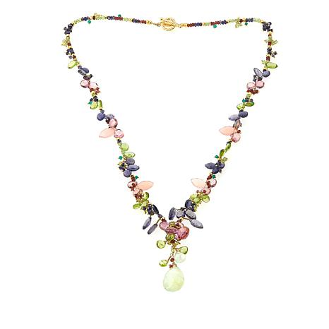 "Rarities Peridot, Iolite and Multigemstone 24"" Gold-Plated Necklace"