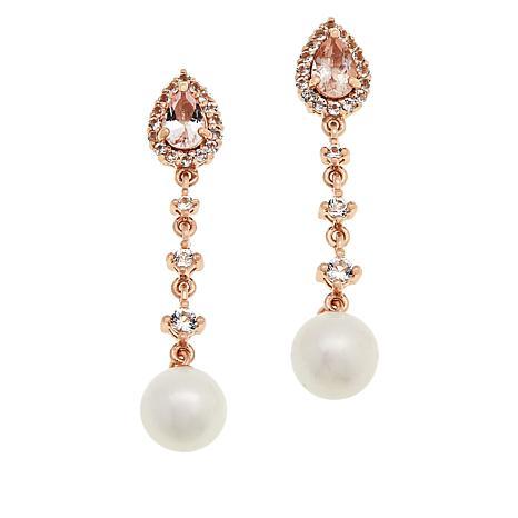 Rarities Rose Gold-Plated Cultured Pearl, Morganite & Topaz Earrings